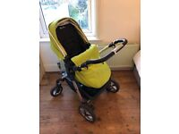 Complete Silver Cross Pioneer Travel system including pram, carrycot, car seat and isofix base