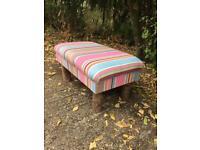 Brockenhurst stool stripe fabric tree trunk legs