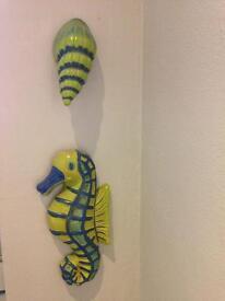 Bathroom Decorative Wall Hanging Sea Horse And Shells X4