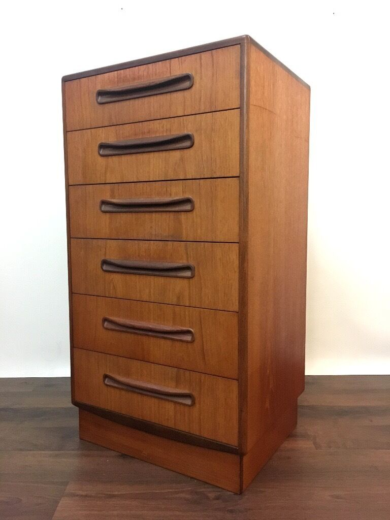 Retro Teak G Plan Chest Of Drawers Tallboy Dresser Fresco Gplan Vintage Mid Century