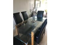 Large Glass Dining Room Table and Chairs