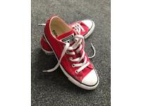 Red converse trainers size 4
