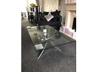 Glass and chrome coffee table (DFS blade)