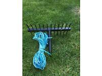 Fishing weed rake - metal with rope