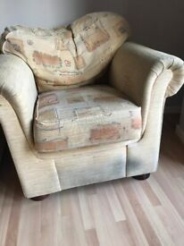 Sofa bed and 2 x armchairs