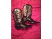 Leather Cowboy Boots - Eagle design