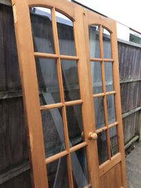 Solid pine French doors