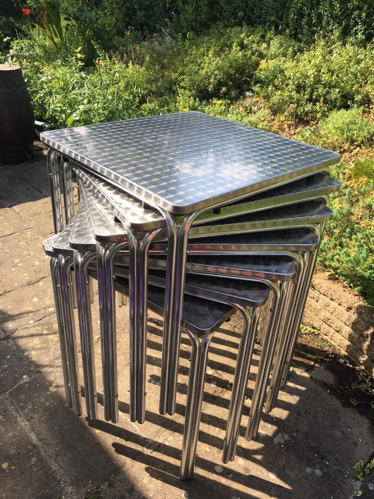 Square stacking tables aluminium £10 each