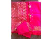 (3)Beautiful Indian Silk and zari Sarees in Baby pink , pink and meroon colour ! Fit for 10-12 size