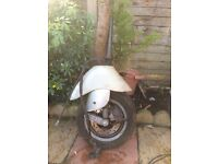 VESPA ET-4 forks with new wheel brakes and speedo