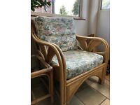 Cane and wicker conservatory furniture 5 chairs and table