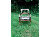 Antique solid wood upholstered chair