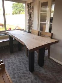 Oak/ Live Edge Hard Wood Table and Chairs