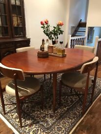 Expandable Dining table, chairs and lounge chairs