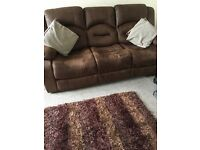 3 piece Brown Recliner Suite. 3 seater, & 2 chairs all reclining