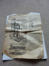 vintage old collectible 1927 Meccano paperwork