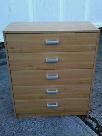Medium coloured chest of 5 draws