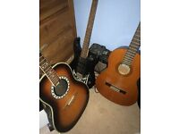 Yamaha 6string electric with amp and pedal
