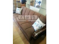 BRAND NEW 3 SEATER LUXURY FABRIC STORAGE SOFA BED, SLEEPER LEATHER SETTEE - SMALL DOUBLE BED
