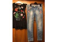 Next faded jeans with flower top and Next dress aged 8