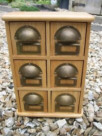 Wooden kitchen storage unit/spice cupboard with 6 drawers and spice labels. Great condition