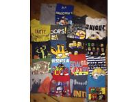 Bundle of boys clothes 45 pieces, tops, trousers, jackets, shoes 7-8 / 8-9 years, Clarks 1.5 G