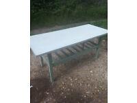 Upcycled, retro, hardwood coffee table.
