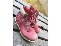 Girls size 10 pink Timberlands