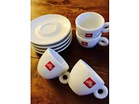 Illy Espresso Shot Cups and Saucers (4x)