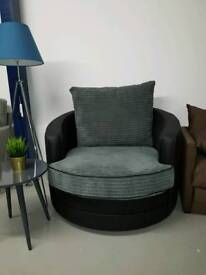 Fab swivel love seat in grey and black new 🏠
