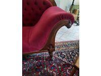 Victorian Red Velvet Chaise