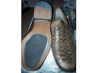 2x mens brown slip on shoes