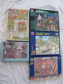 FIVE VARIOUS JIGSAW PUZZLES . ALL COMPLETE.