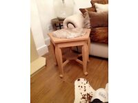 Pair of quality solid oak with thick marble top excellent condition coffee side tables
