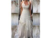 Ladies Corset Halter Neck Ruched Floral Wedding Dress Size 10 BNWOT