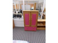 Girls Tall Boy wardrobe with 2 drawers in Antique Pine and Fuchsia Pink - local delivery possible