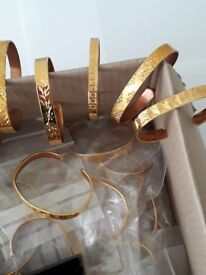 joblot of 2 in 1 copper bracelets with 22ct gold plating diamond cut BARGAIN))))