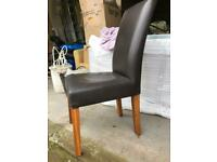 Dining chair leather and wood