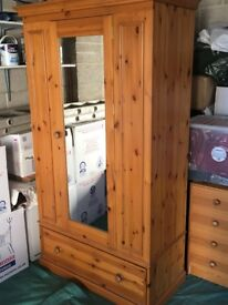 Wardrobe, made from solid pine, single door, with one drawer in base