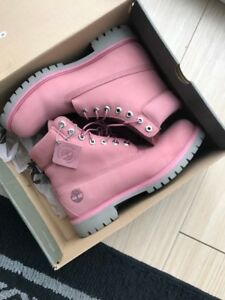 Pink and grey mens Timberland work boots in box Size: 9.5