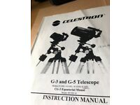 Celestron G 5 Telescope with CG- 3 Equatorial Mount. Full instructions for assembly & Use