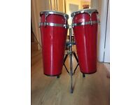Stagg Bongo Drums with stand - colour red