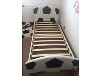 Boys faux leather single football bed, dismantled & ready for collection