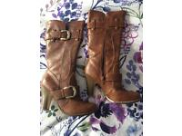 Brown Knee Length Boots - Brand New - Size 4
