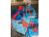 Spider-Man lightshade, duvet set, dressing gown and curtains