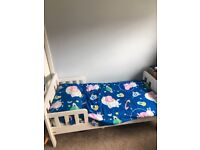 "White toddler bed including ""peppa pig"" (George pig) bedding"