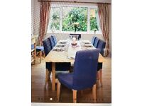 Large dining table and/or 10 upholstered chairs (table and chairs can be sold separately)