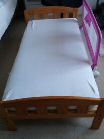 Toddler Bed with Mattress and Pink Tomy Bed Rail