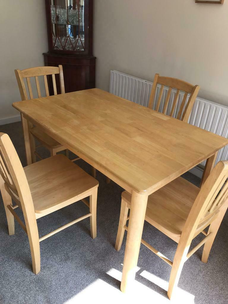 john lewis solid dining table and 4 chairs  in poringland