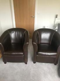 Faux leather (dark brown) tub chairs x 2.